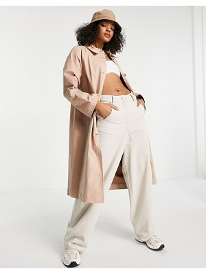 Pieces trench coat with wide sleeves in tan-neutral