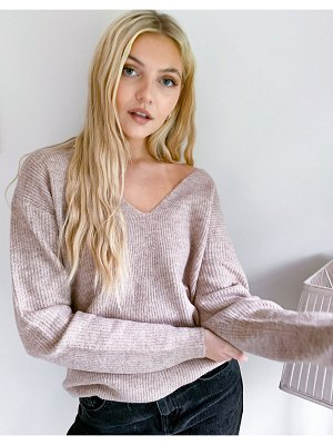Pieces v-neck knitted sweater in beige