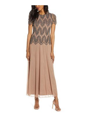 Pisarro Nights beaded mock two-piece maxi gown