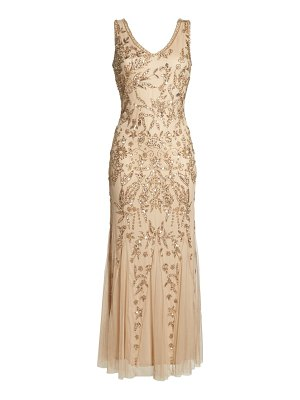 Pisarro Nights embellished mesh gown