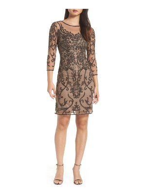 Pisarro Nights embellished mesh sheath dress