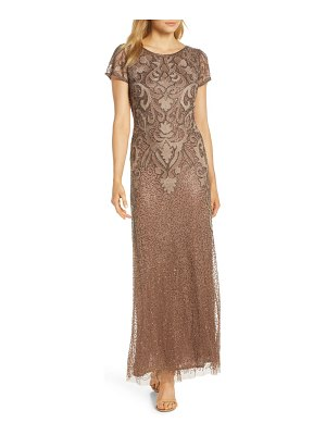 Pisarro Nights embroidered mesh gown
