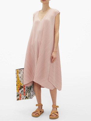 PLEATS PLEASE ISSEY MIYAKE v-neck technical-pleated midi dress