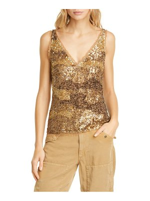 Polo Ralph Lauren gold sequin & tulle tank top
