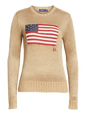 Polo Ralph Lauren metallic cotton blend flag sweater