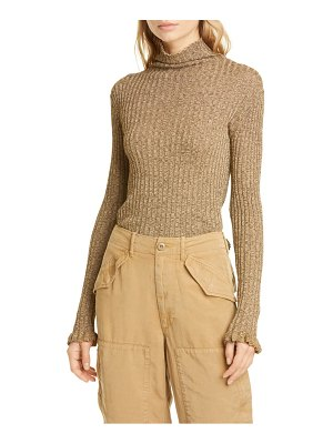 Polo Ralph Lauren ribbed metallic funnel neck sweater