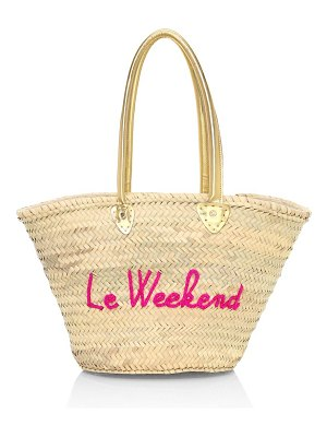 Poolside le weekend embroidered straw tote