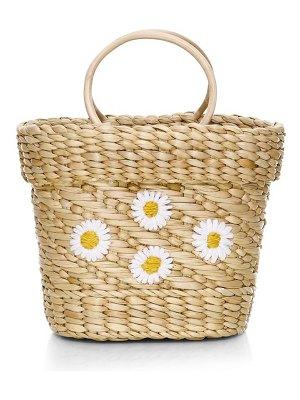 Poolside mini the mak daisy embroidered basket beach tote bag