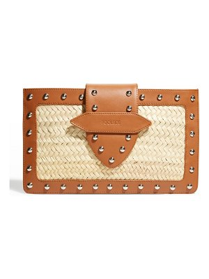 Poolside Studded Straw & Leather Clutch Bag