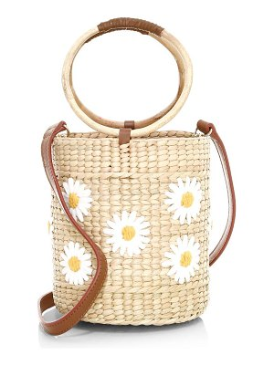 Poolside the bobby daisy embroidered wicker ice bucket bag