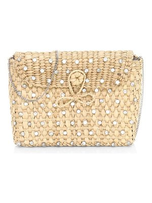 Poolside the denise embellished straw box clutch