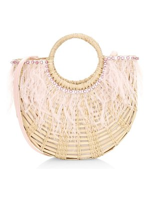 Poolside the holly feather-trimmed straw tote