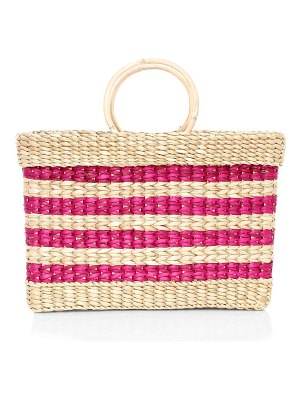 Poolside the lizzy striped structured east & west wicker tote bag