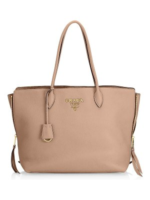 Prada cammeo leather shopping bag