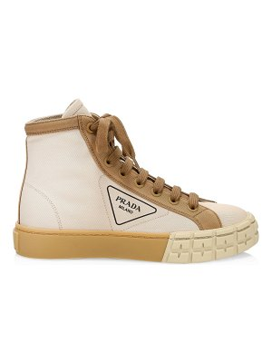 Prada colorblock high-top cotton sneakers