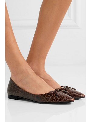 Prada croc-effect leather ballet flats