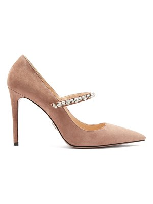 Prada Crystal Embellished Suede Pumps