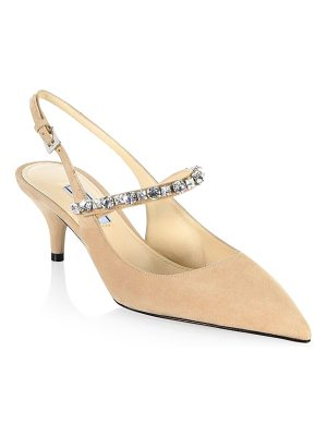 Prada crystal leather slingback pumps
