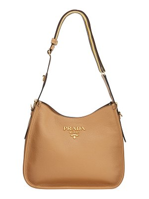Prada Daino Calf Leather Hobo Bag with Crossbody Strap