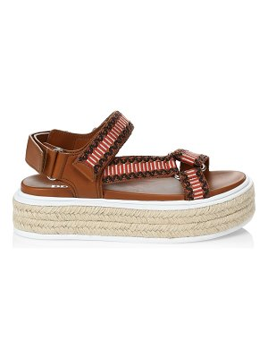 Prada embroidered raffia flatform sport sandals
