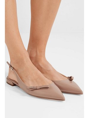 Prada glossed textured-leather slingback flats