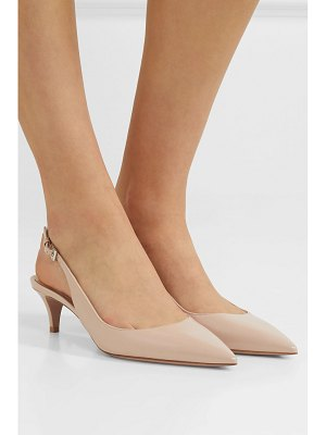 Prada 45 glossed textured-leather slingback pumps