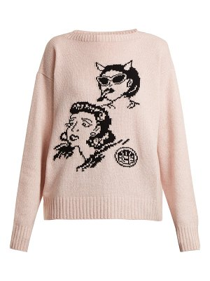 Prada Graphic-intarsia wool and cashmere-blend sweater