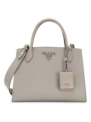 Prada large monochrome leather tote
