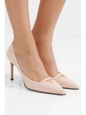 Prada logo-appliquéd textured-leather pumps