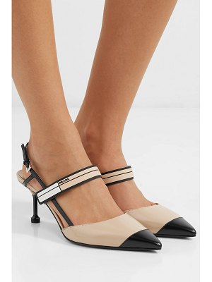 Prada 55 logo-embossed rubber and patent-leather slingback pumps