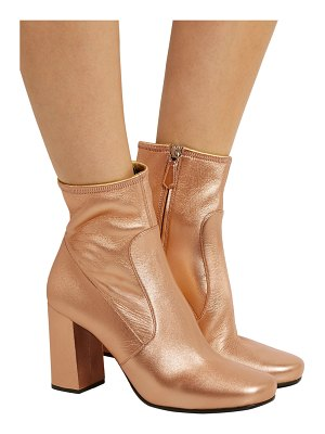 Prada metallic textured-leather ankle boots