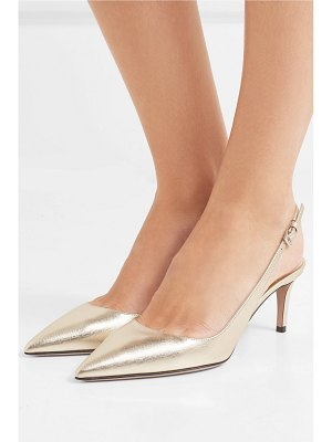 Prada metallic textured-leather slingback pumps