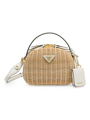 Prada odette wicker & leather top handle bag