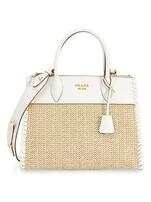 Prada paglia city whipstitch leather tote