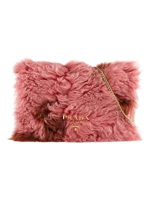 PRADA Shearling Fur Flap Chain Shoulder Bag
