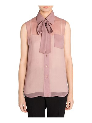 Prada sleeveless chiffon tie-neck blouse