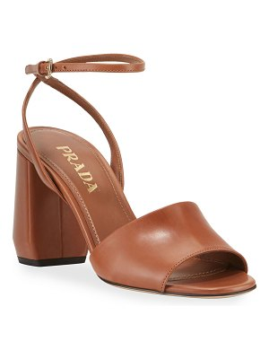 Prada Smooth Leather Chunky-Heel Sandals