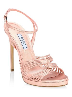 Prada strappy metallic leather platform sandals