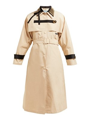 Prada stud embellished cotton blend trench coat