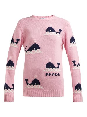 Prada whale intarsia wool and cashmere blend sweater