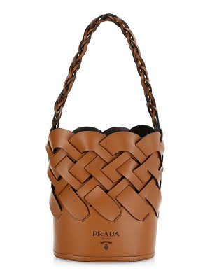 Prada woven leather bucket bag