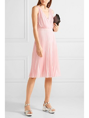 Prada wrap-effect plissé-crepe de chine dress