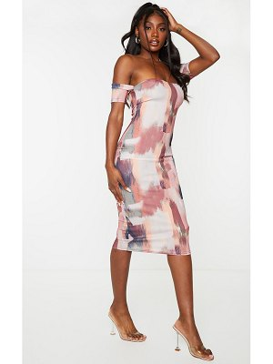 PrettyLittleThing abstract print ribbed bardot detail midi dress