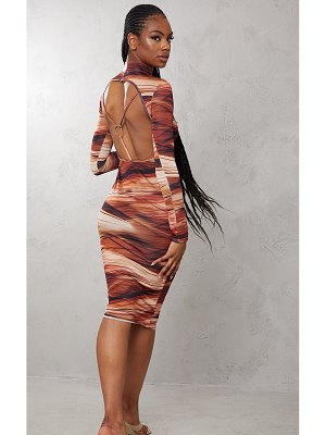 PrettyLittleThing abstract print slinky open back ring detail midi dress