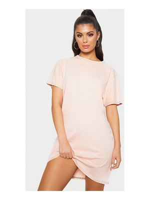 PrettyLittleThing acid wash contrast stitch t shirt dress