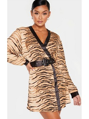 PrettyLittleThing animal print belted kimono dress