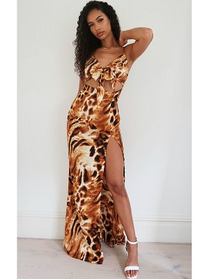 PrettyLittleThing animal print satin tie front strappy maxi dress
