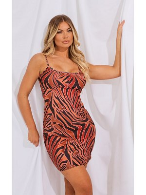 PrettyLittleThing animal print strappy bodycon dress