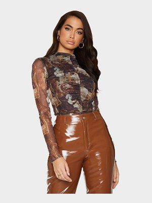 PrettyLittleThing animal renaissance printed mesh ruched front long sleeve bodysuit