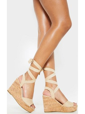 PrettyLittleThing ankle cork tie up wedge